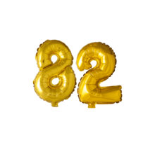 Folieballon 82 jaar Goud 41cm