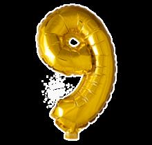 Folieballon 9 jaar Goud 41cm
