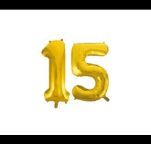 Folieballon 15 jaar Goud 41cm