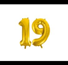 Folieballon 19 jaar Goud 41cm