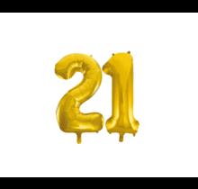 Folieballon 21 jaar Goud 41cm