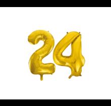 Folieballon 24 jaar Goud 41cm