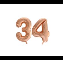 Folieballon 34 jaar Rosé Goud 86cm