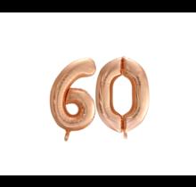 Folieballon 60 jaar Rosé Goud 86cm