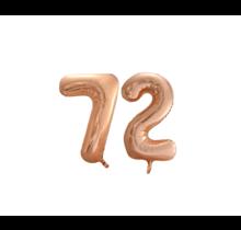 Folieballon 72 jaar Rosé Goud 86cm
