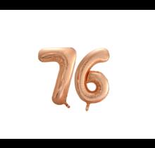 Folieballon 76 jaar Rosé Goud 86cm