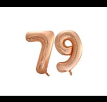 Folieballon 79 jaar Rosé Goud 86cm