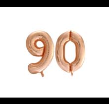 Folieballon 90 jaar Rosé Goud 86cm