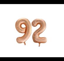 Folieballon 92 jaar Rosé Goud 86cm