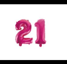 Folieballon 21 jaar roze 86cm