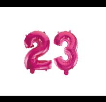 Folieballon 23 jaar roze 86cm