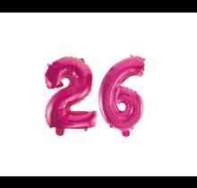 Folieballon 26 jaar roze 86cm