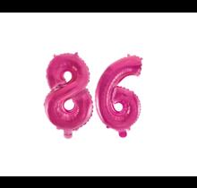 Folieballon 86 jaar roze 86cm