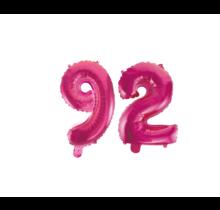 Folieballon 92 jaar roze 86cm