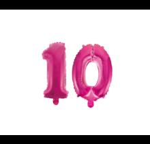 Folieballon 10 jaar roze 41cm