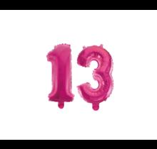 Folieballon 13 jaar roze 41cm
