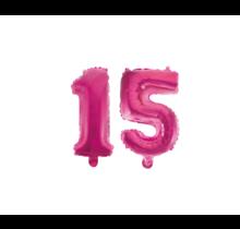 Folieballon 15 jaar roze 41cm