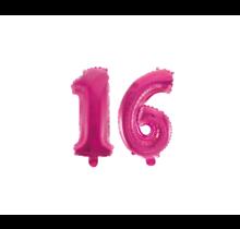 Folieballon 16 jaar roze 41cm
