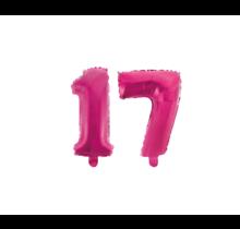 Folieballon 17 jaar roze 41cm