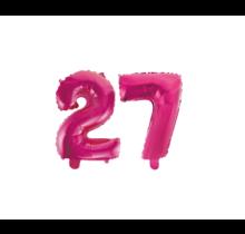 Folieballon 27 jaar roze 41cm