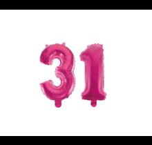 Folieballon 31 jaar roze 41cm