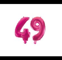 Folieballon 49 jaar roze 41cm
