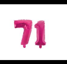 Folieballon 71 jaar roze 41cm