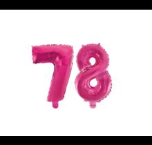 Folieballon 78 jaar roze 41cm