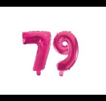 Folieballon 79 jaar roze 41cm