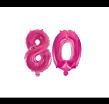 Folieballon 80 jaar roze 41cm