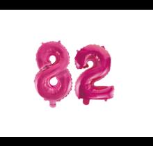 Folieballon 82 jaar roze 41cm