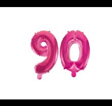 Folieballon 90 jaar roze 41cm