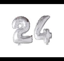 Folieballon 24 jaar zilver 86cm