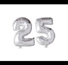Folieballon 25 jaar zilver 86cm