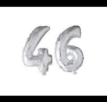 Folieballon 46 jaar zilver 86cm