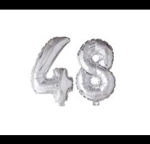 Folieballon 48 jaar zilver 86cm