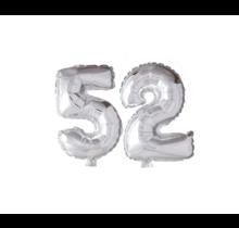 Folieballon 52 jaar zilver 86cm
