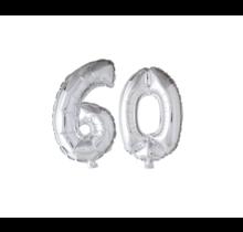 Folieballon 60 jaar zilver 86cm