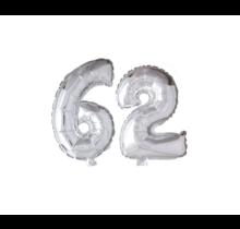 Folieballon 62 jaar zilver 86cm