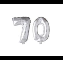 Folieballon 70 jaar zilver 86cm