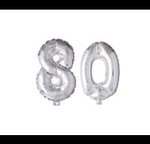 Folieballon 80 jaar zilver 86cm