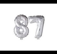 Folieballon 87 jaar zilver 86cm