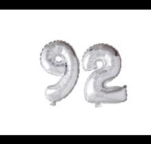 Folieballon 92 jaar zilver 86cm