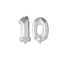 Folieballon 10 jaar zilver 41cm