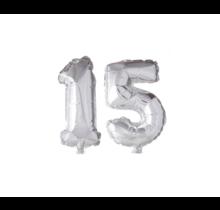 Folieballon 15 jaar zilver 41cm