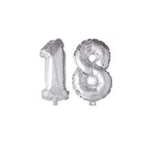 Folieballon 18 jaar zilver 41cm