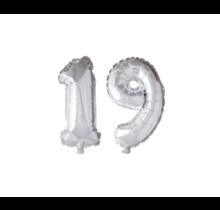 Folieballon 19 jaar zilver 41cm