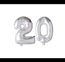 Folieballon 20 jaar zilver 41cm
