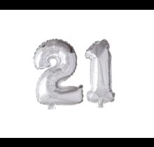 Folieballon 21 jaar zilver 41cm