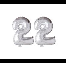 Folieballon 22 jaar zilver 41cm